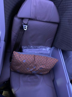 Pillow and blanket are waiting for passengers in the seat