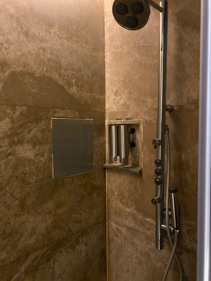 Wet area in the shower cubicle