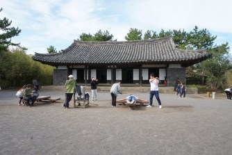 There are some more traditional Korean games around for visitors to try out