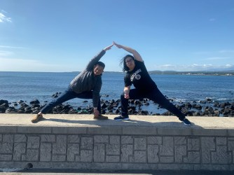 My friend and I posing with our yoga poses