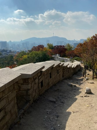 This stretch of Seoul City Wall from Naksan Park is a downslope walk