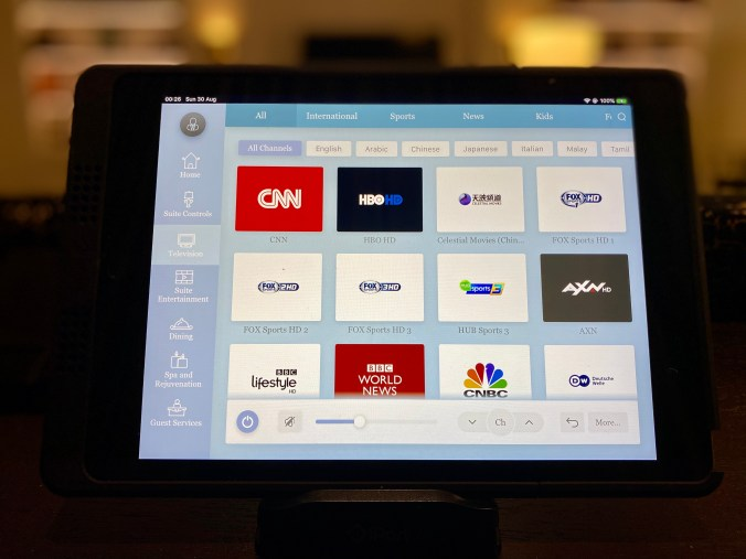 TV Channels can be Selected on the iPad in the Suite