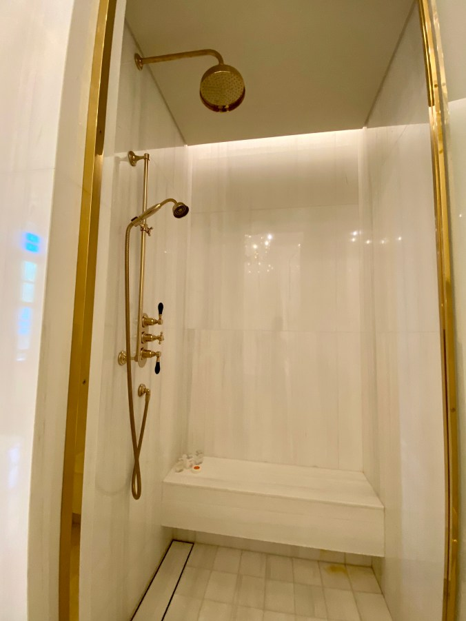 Walk-in Shower with Gold Plated Showerheads