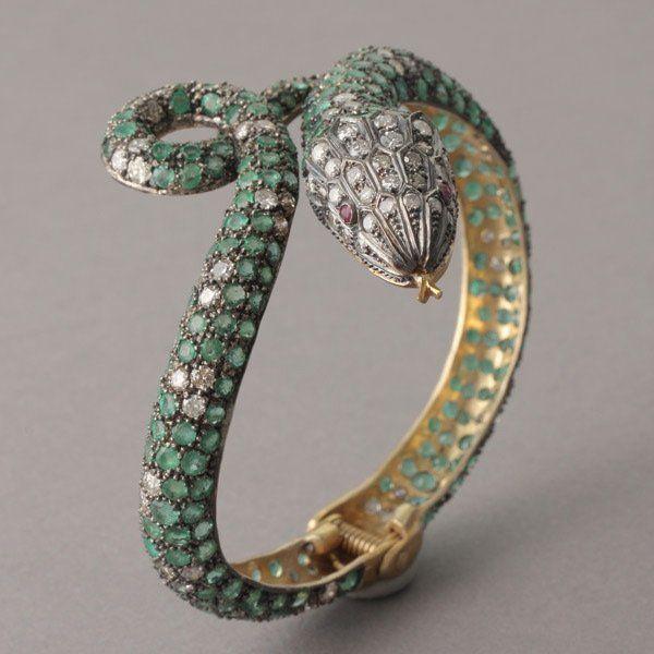 Bracelets Emerald Diamond And Ruby Snake Bracelet