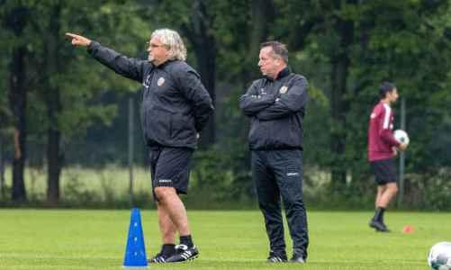 Dynamo Dresden: Markus Kauczinski und Heiko Scholz (v.r.) - Trainingseinheit im Großen Garten - Foto: SGD / Steffen Kuttner