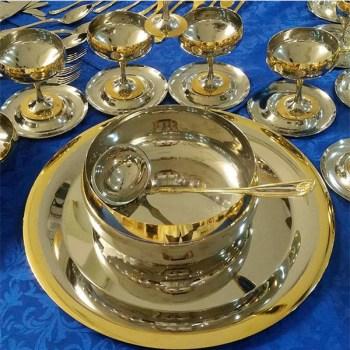 """Набор """"Барон"""" для десерта - с серебряным покрытием и золотым декором от Цептер"""