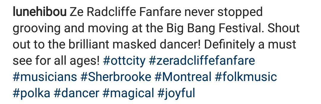 Testimonial from instagram Big bang festival