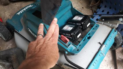 The mower takes two standard 18v batteries that can be used on any other tool of the same brand.