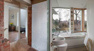 view into the front bedroom and bathroom in zero carbon house, Birmingham
