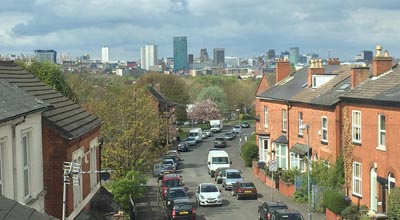 View of Birmingham sky line and Tindal Street as seen from the studio in zero carbon house, Birmingham