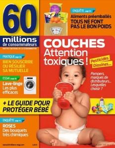 """Couverture du magazine 60 millions de consomateurs avec titrage """"Couches : attention toxiques"""""""