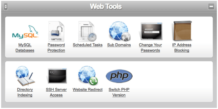 cp web tools screen