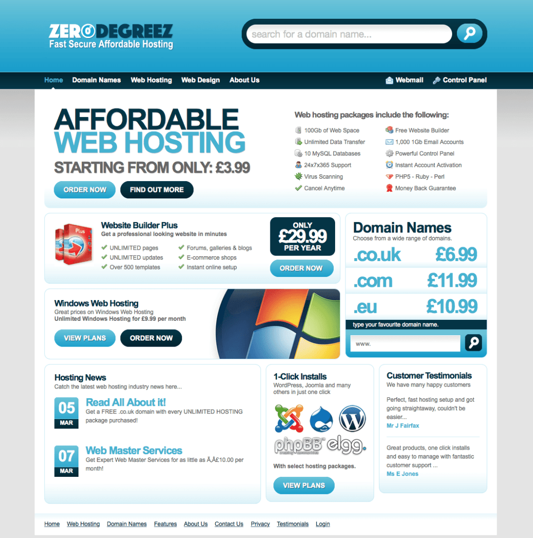 fullscreen home web hosting screen