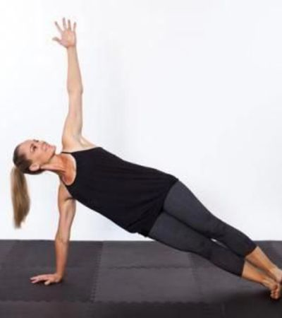 Stacked Side Plank- Yoga poses for flat Abs. 10 yoga poses to reduce belly fat and get flatter stomach