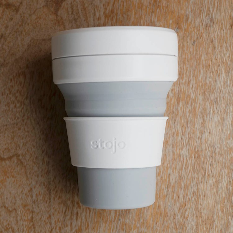 Grey Stojo coffee foldable cup - the best foldable coffee cup