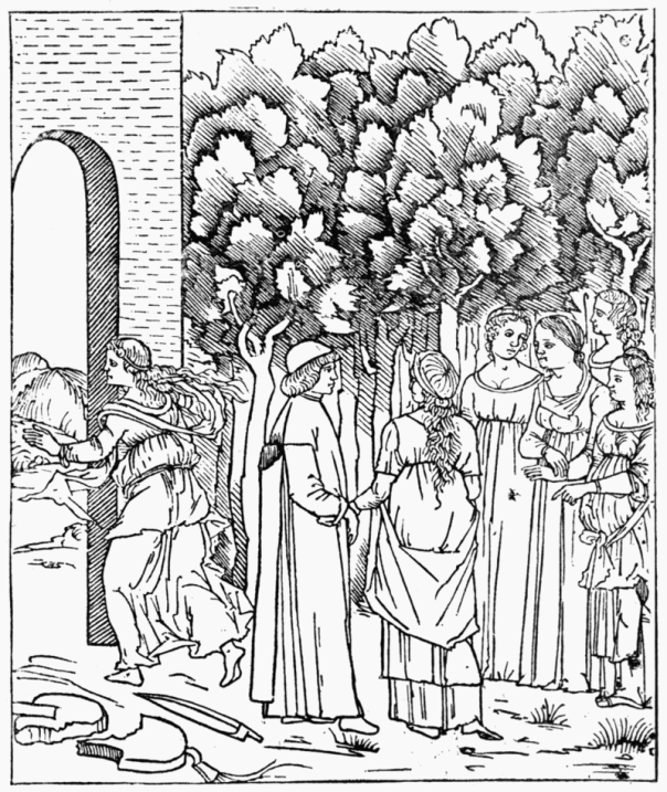 Poliphilo in the Garden, from 'Hypnerotomachia Poliphili,' printed at Venice.
