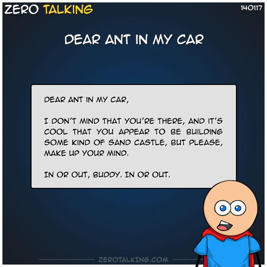 dear-ant-in-my-car-zero-dean