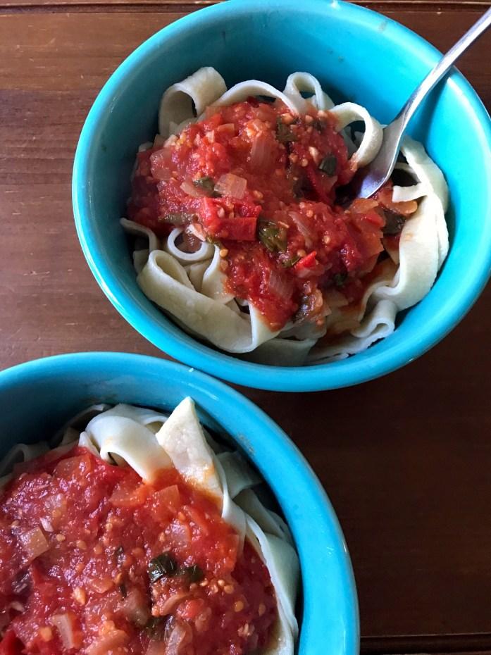 tomato sauce with pasta