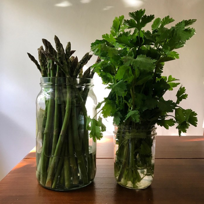 store asparagus in a jar of water to keep it fresh