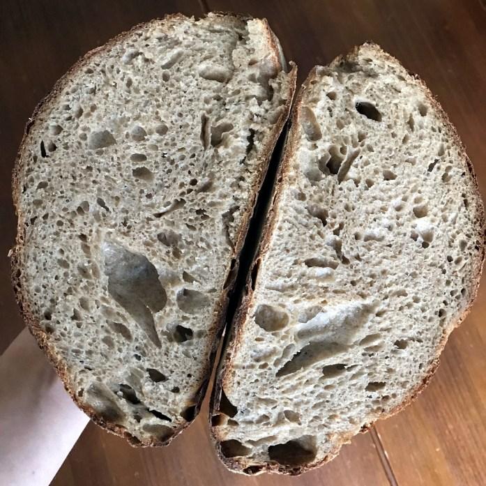 sourdough bread crumb shot