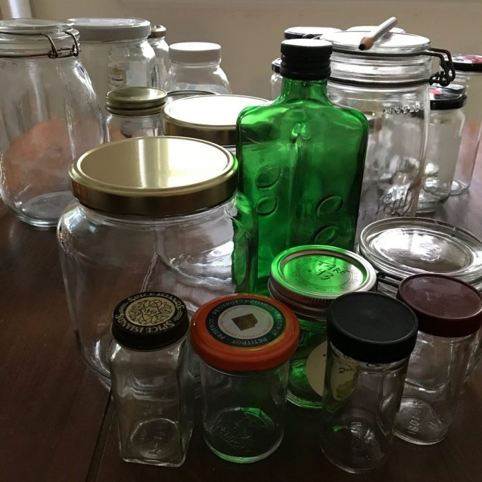 upcycled jars for zero waste and plastic free living