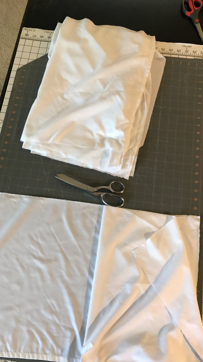 cutting boards, fabric and scissors