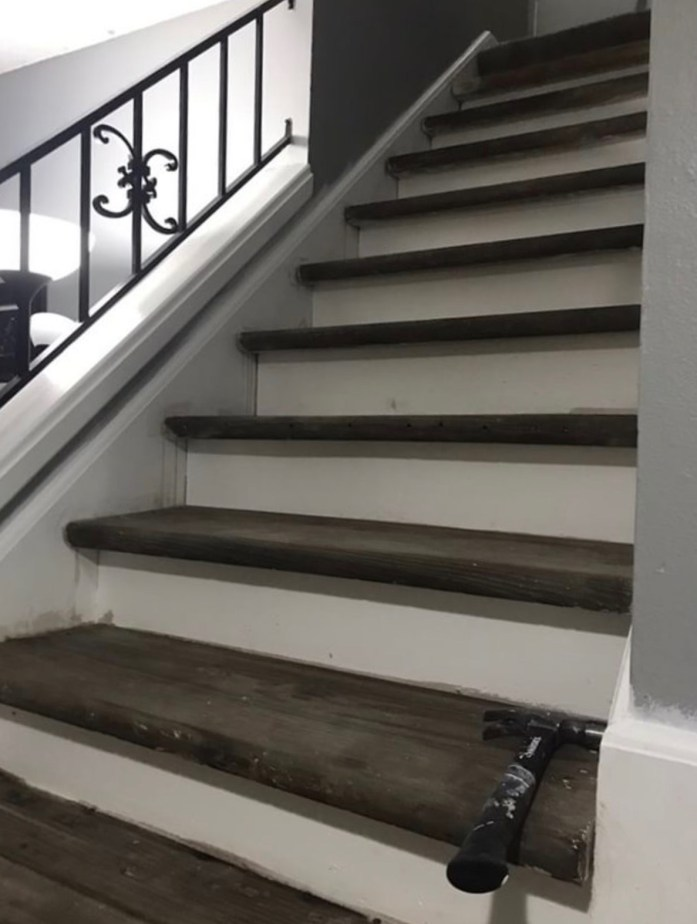 stairs stained with homemade vinegar steel wool stain