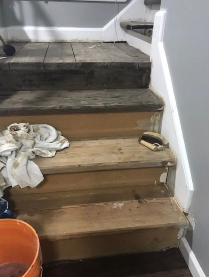 stairs stained with homemade vinegar rust stain