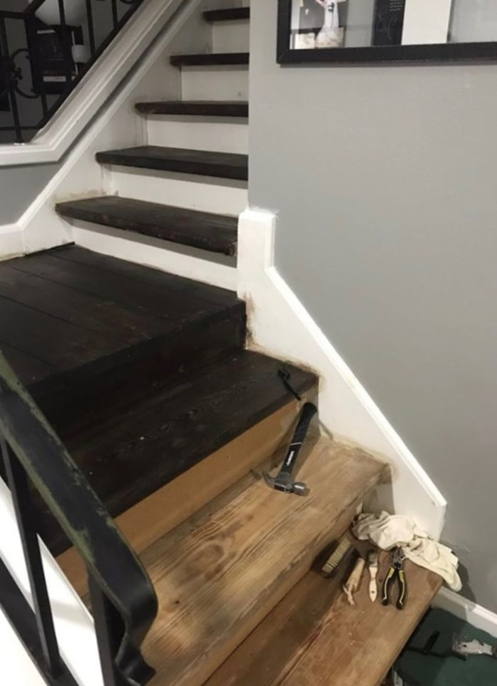 stairs stained with vinegar steel wool stain