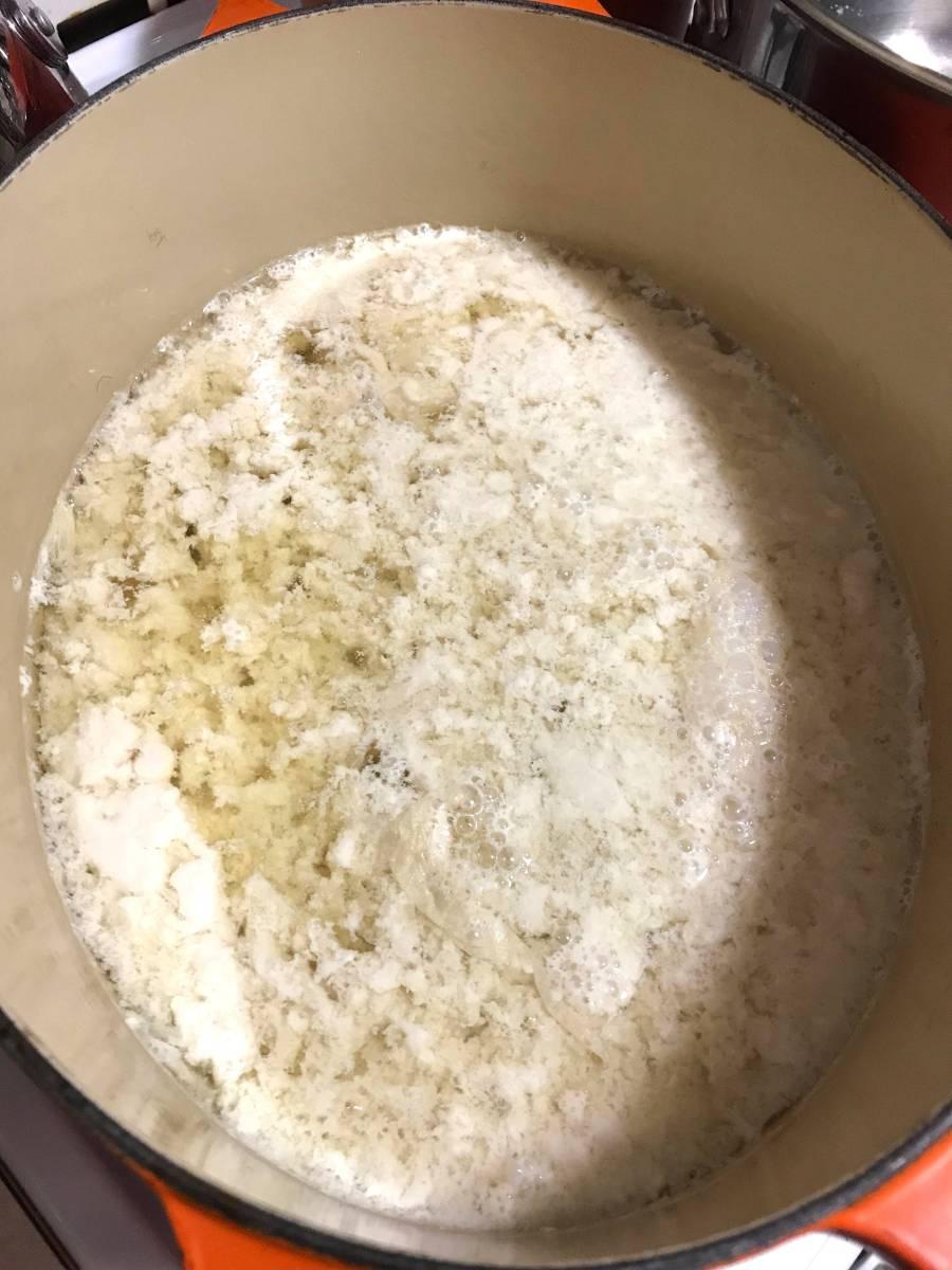 tofu curds in soy milk