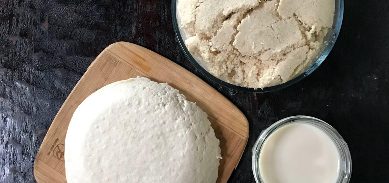 homemade soy milk, tofu and okara