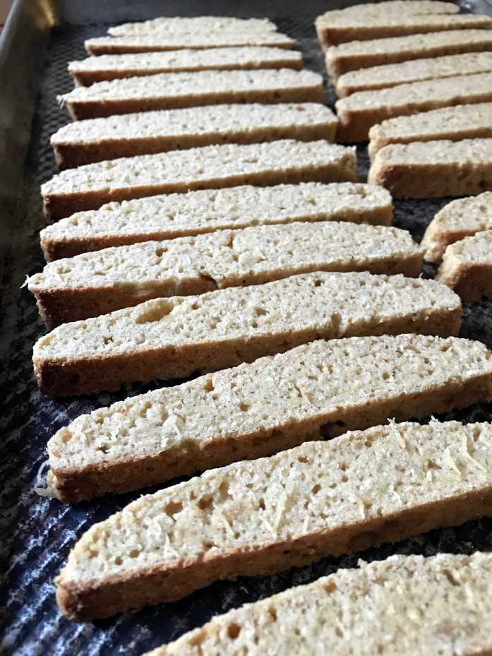 Sliced okara biscotti ready to bake a second time