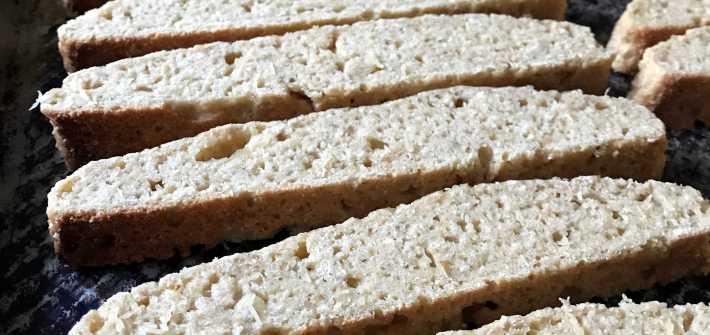 Sliced okara biscotti ready to bake a second time
