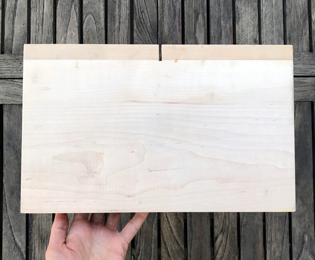 Bottom of wooden bread slicing guide