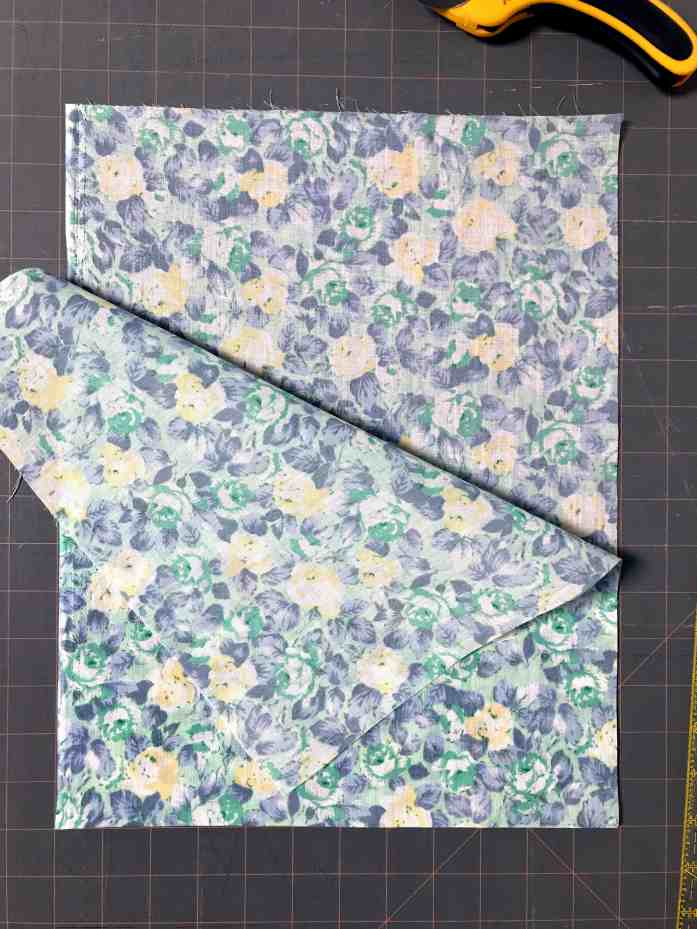 fabric laid out to make a cloth produce bag for zero waste plastic free shopping