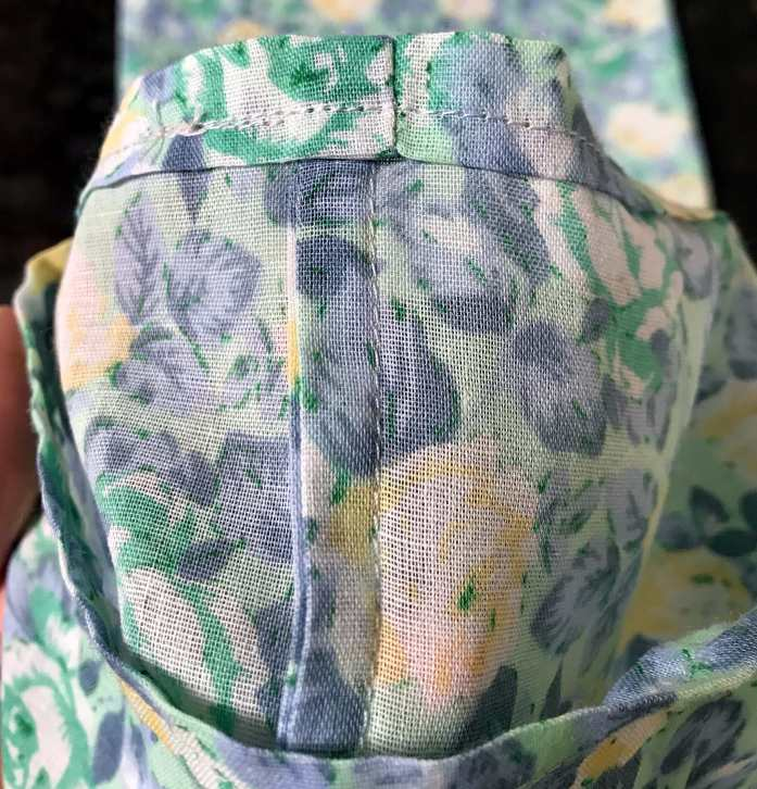 French seam inside a clothe produce bag for plastic free and zero waste shopping