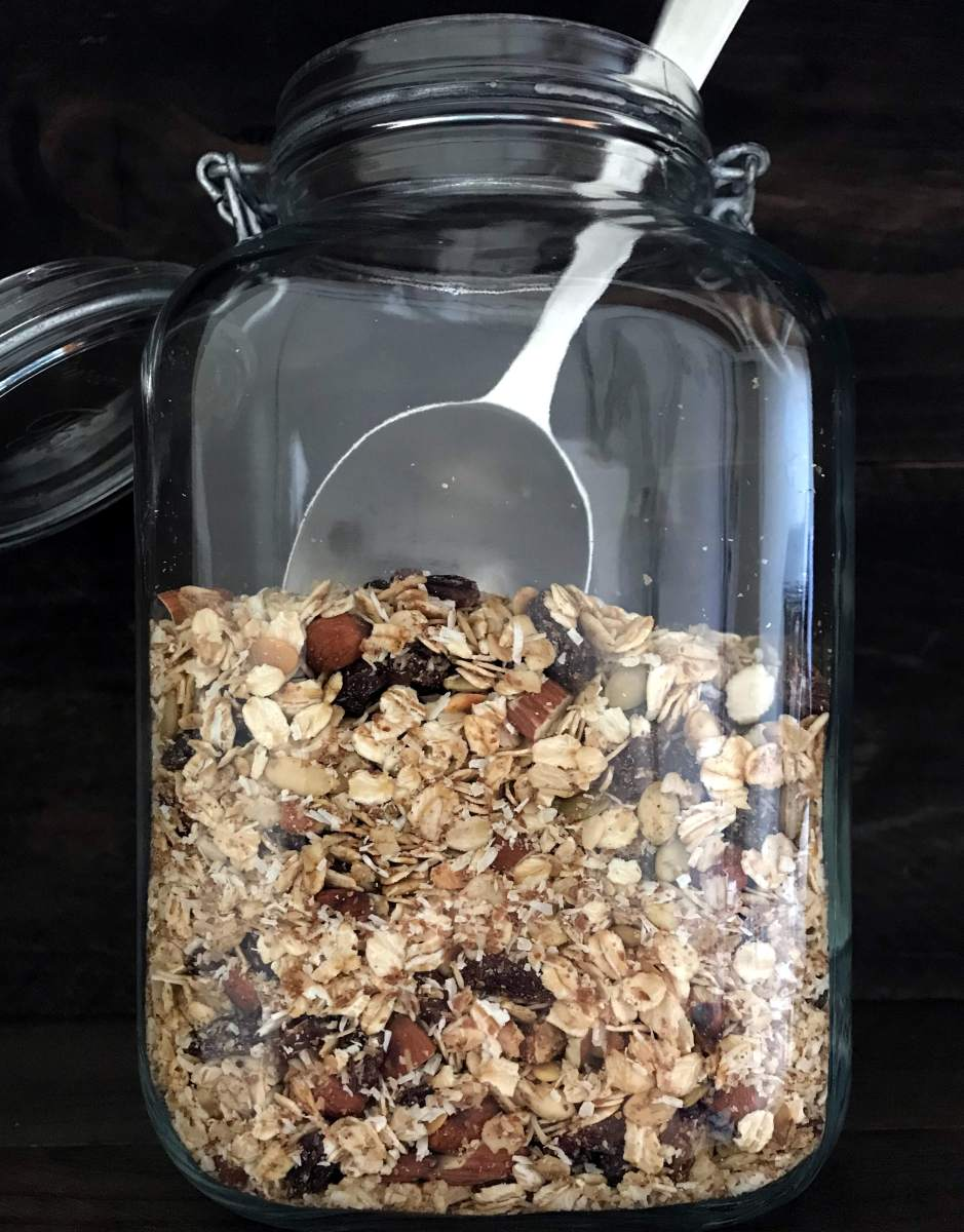 muesli in a large glass jar