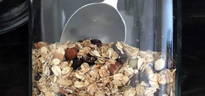 muesli in a large glass jar