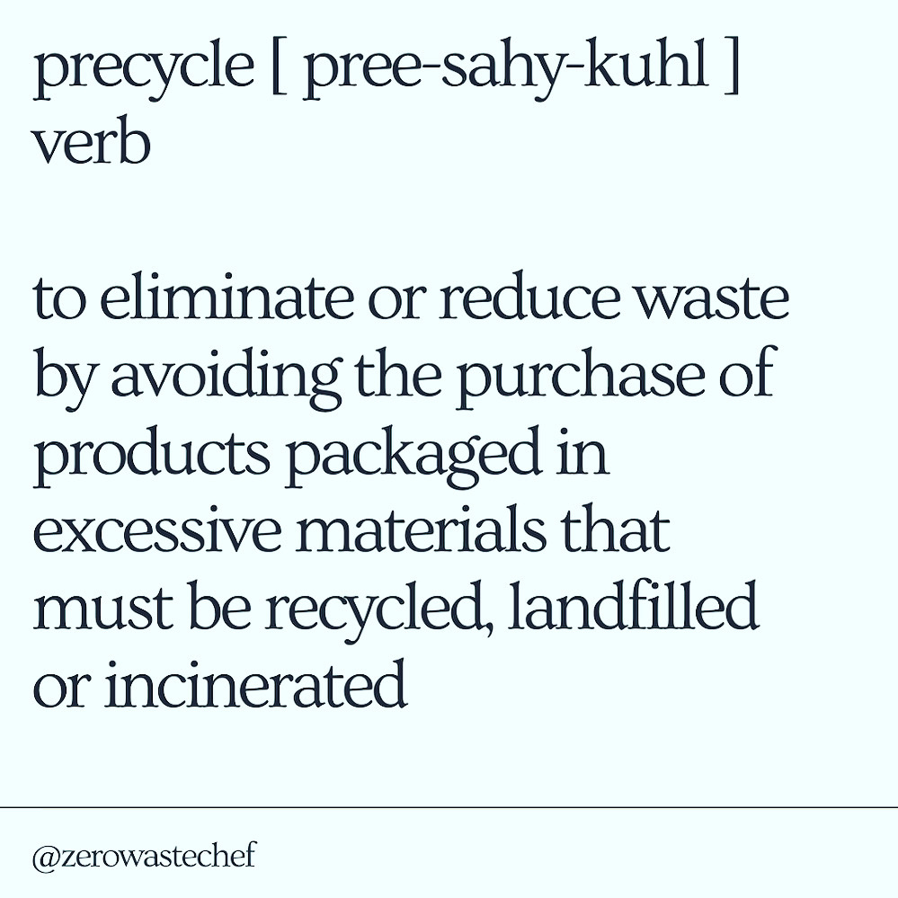 definition of precycle: essentially prevent waste before it happens