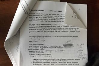 a hard copy of a marked-up book manuscript