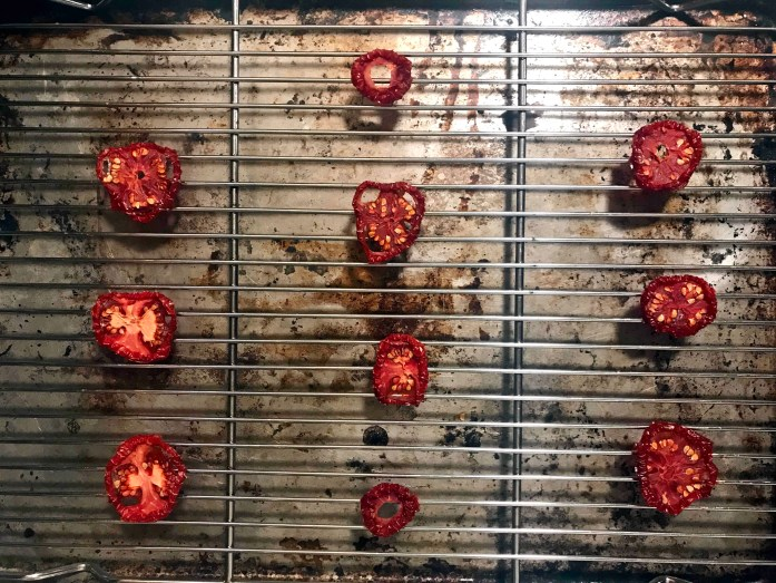 tomato slices dehydrated in a car