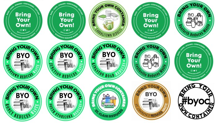 a group of stickers for various neighborhoods in Toronto that indicate that a business allows customers to bring their own containers for filling with food or drinks