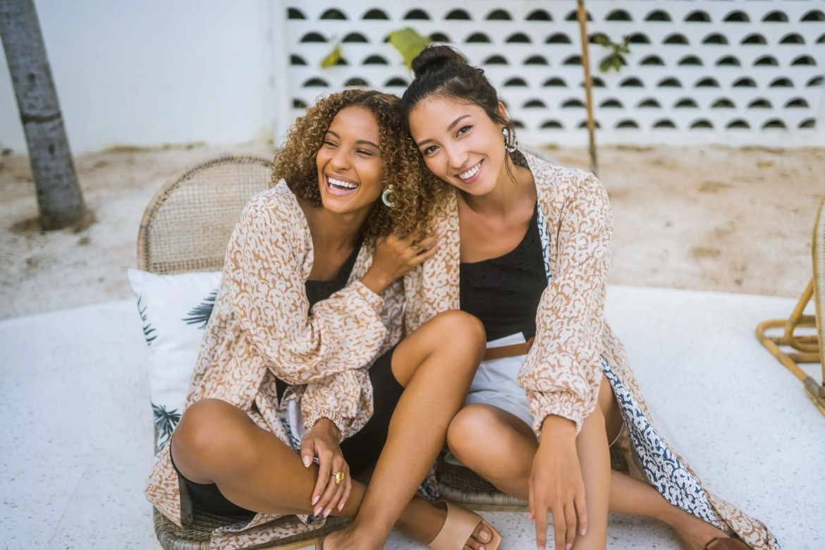Models wear sustainable fashion label One Puram's Malas jacket, a great cover up