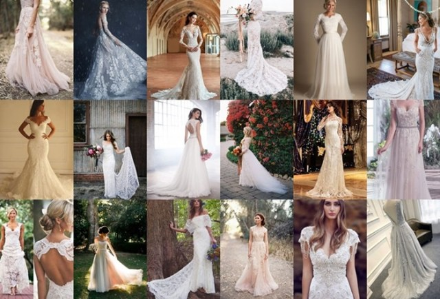 Lace wedding dress ideas for autumn