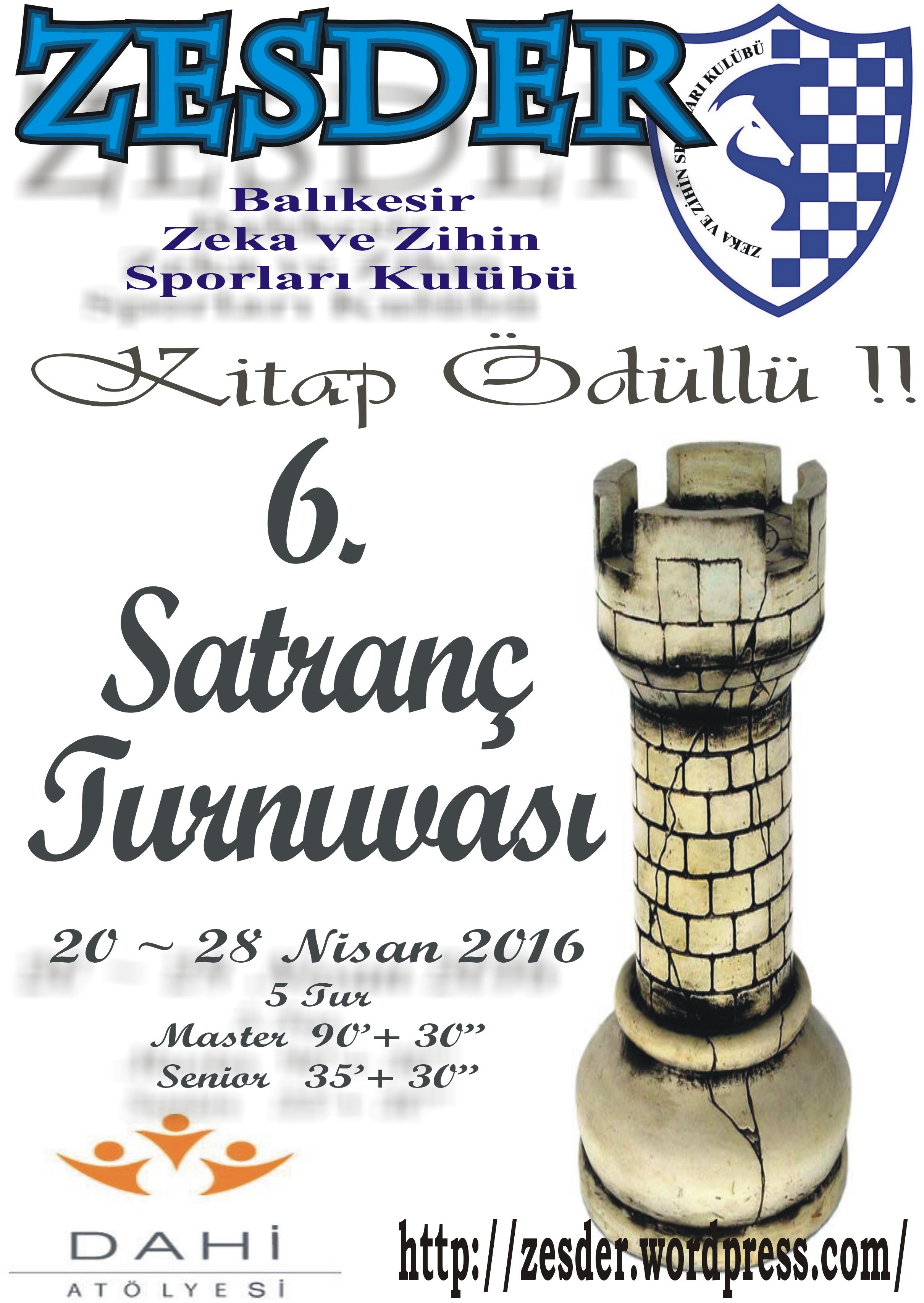 Kitap Çeki ödüllü ZESDER 6. Satranç Turnuvası Başlıyor…