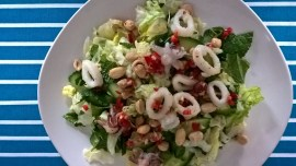 Thai-style squid and peanut salad