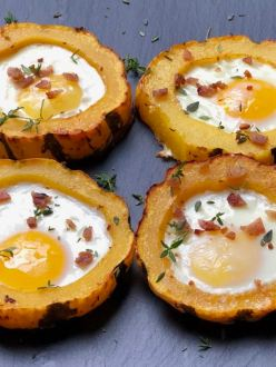 Roasted Squash w/egg in hole