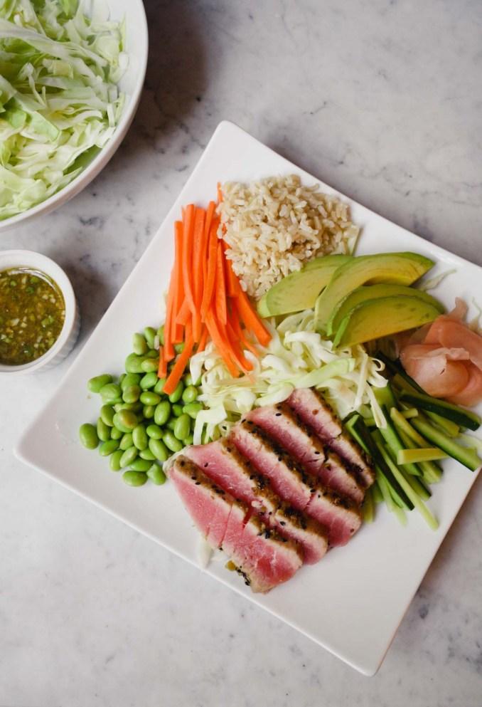 Sushi Salad with Wasabi Crusted Ahi Tuna — Zestful Kitchen