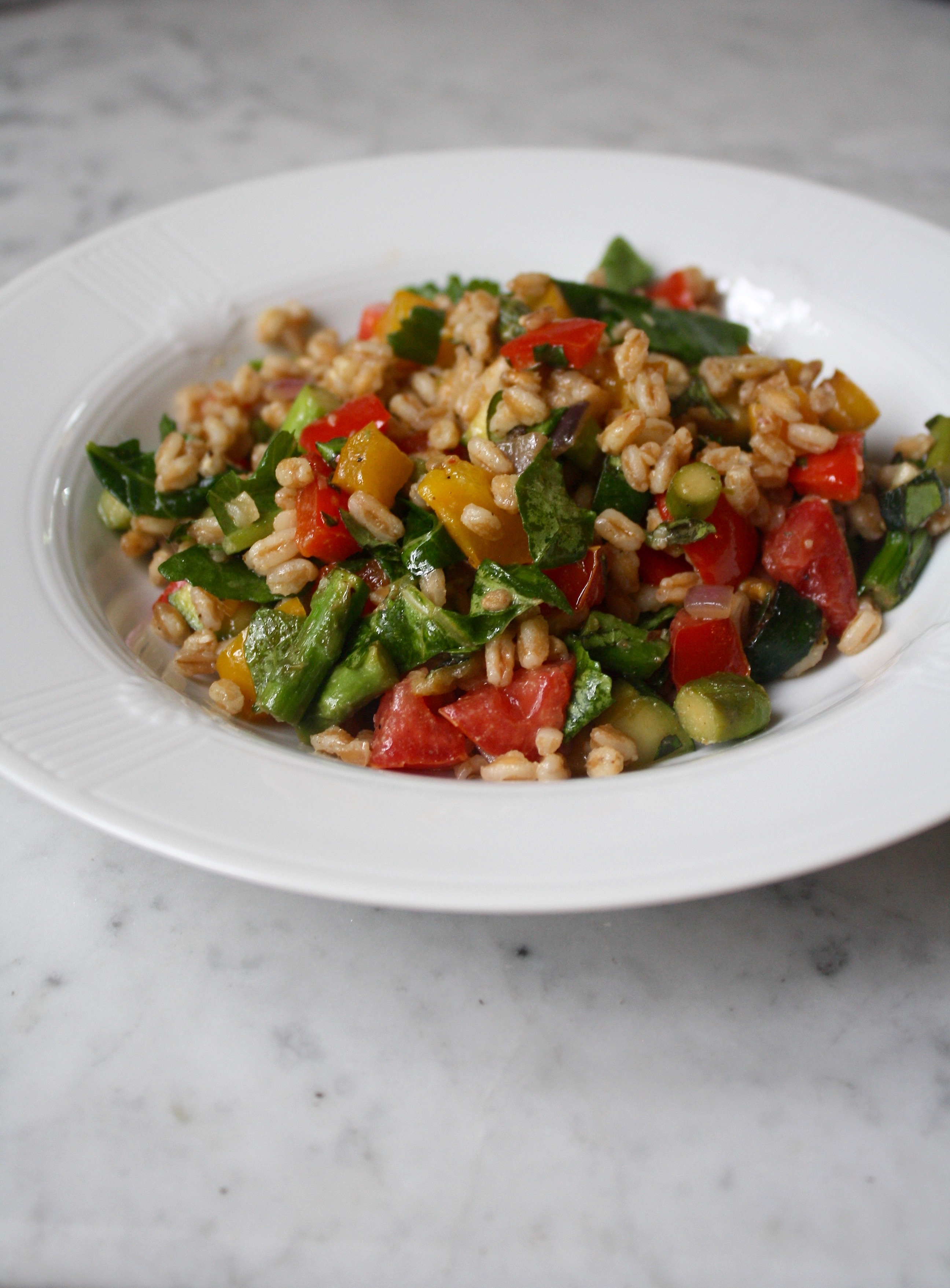 Grilled Vegetable and Farro Salad | Zestful Kitchen