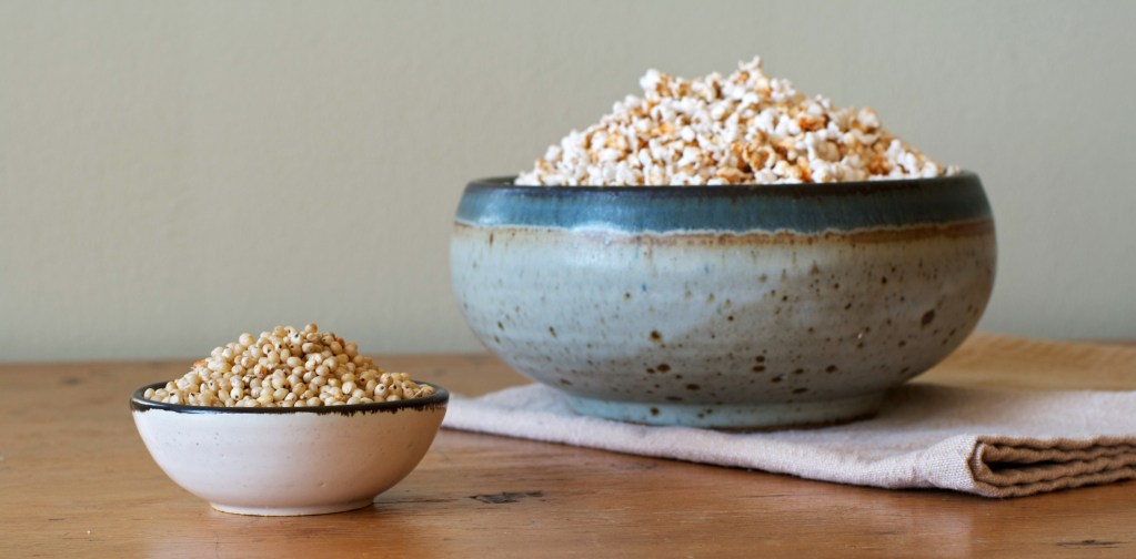 """Spiced Sorghum """"Popcorn""""   Zestful Kitchen"""